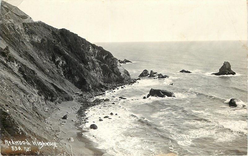 California~Redwood Highway Along the Ocean~1943 Real Photo Postcard~RPPC