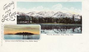 SALT LAKE , Utah, 1900-1910's; Antelope Island & Wasatch Mts