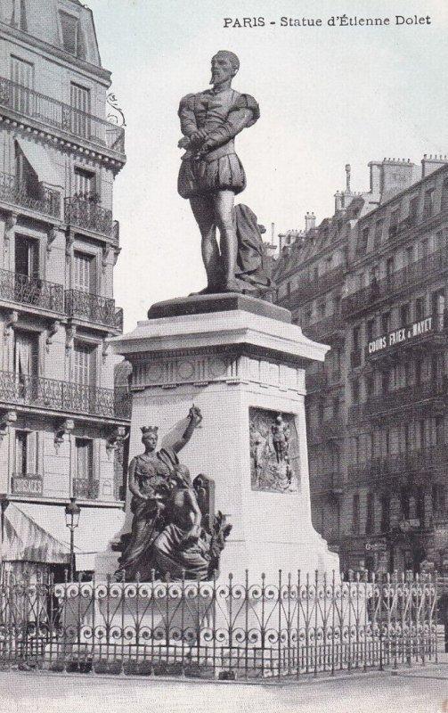 PARIS, France, 1900-1910s; Statue D'Etienne Dolet