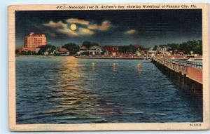 St. Andrew's Bay Panama City Florida Waterfront Pier Dock Moonlight Postcard D24