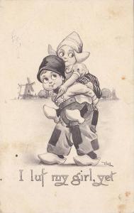 AS: I luf my girl, yet, Dutch boy carries Dutch girl piggie back, Windmill,...