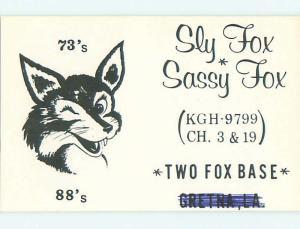 Female Fox - Qsl Ham Radio Card Gretna Louisiana LA t1069
