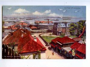 213859 JAPAN YOKOHAMA port Vintage TUCK postcard