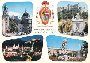 Bischofstadt Salzburg, Garden Statues Fountain Brunnen Schloss Castle Panorama