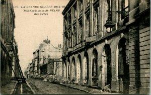 Vtg Photo Postcard 1919 La Grand Guerre Bombardment De Reims Rue Ceres UNP