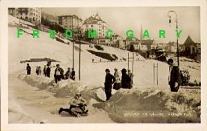 1915 St. Moritz Switzerland RPPC: 2-Man Bobsledding