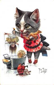 Artist Arthur Thiele Cat Washing  Dolls Teddy Bear Toys Postcard