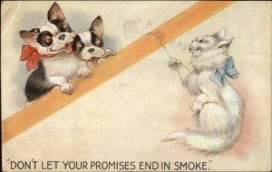 Fantasy Dogs Cat Smoking Cigarette DON'T LET PROMISES END IN SMOKE Postcard