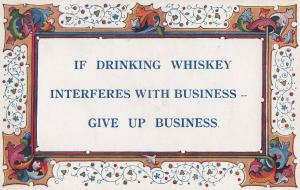 Drink Drinking Whiskey Alcohol Is Most Important Antique Proverb Postcard