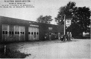 Marlette MI Walter Bednaryczk Mobil Gas Station Postcard