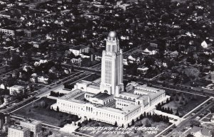Nebraska Lincoln Aerial View State Capitol Building Real Photo