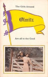 The Girls Around Olmitz Kansas~Are All to the Good~1914 Pennant Postcard
