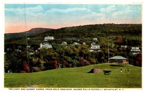 New York Haines Falls , Twilight and Sunset Parks, from Golf Grounds