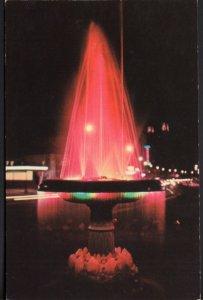 Arkansas HOT SPRINGS N Park A Night Scene of the Crystal Water Fountain - Chrome