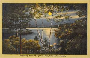 Prudenville Michigan Greetings From Houghton Lake linen antique pc ZA440414