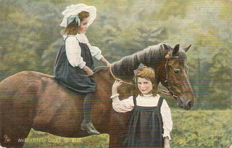 Girls and her horse. Warranted quiet to ride Tuck Photochrome Animal Studies P