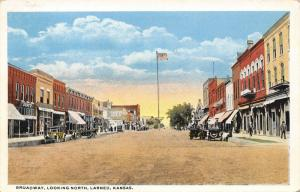 Larned KS Flag Pole @ Middle of Dirt Street~Dewey Building~Barbershop~1920s Cars