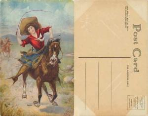 the Belle of the Plains, Art of a Cowgirl on Horse With Pistol on the Her Hip,