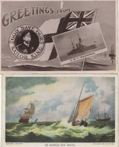 HMS Implacable Ship A Gale Weather At Sea 2x Old Postcard s