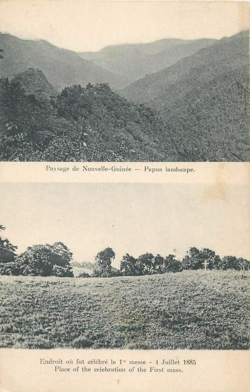 New Guinea Papua landscape & place of the celebration of the First mass. Oceania