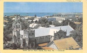Key West Florida~Harbor~St Pauls Church~1940s Postcard
