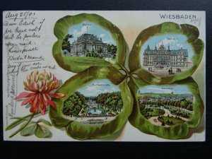 Germany WIESBADEN in 4 Leaf Clover c1901 UB Embossed Postcard by Verlag & Druck