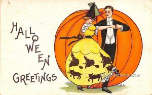 Halloween Post Card Old Vintage Antique postal used unknown