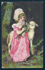 'Happy Easter' Girl & Lamb Pussy Willows Used c1910s