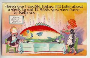 P919 vintage comic fishing-big fish for dinner wish you were here to help eat it