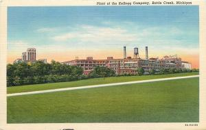 Battle Creek Michigan~Plant of Kellogg Cereal Co~Factory~Water Tower~1938 Linen
