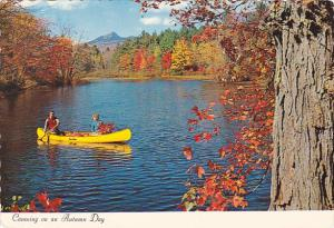 Canada Canoeing On An Autumn Day Quebec