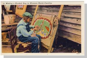 Nice Western, NC Postcard, Making A Hooked Rug, Near Mint!