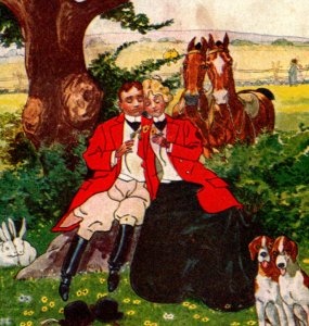 Couple hunting 2 hounds 2 bunnies 2 horses 2 squirrels romance PAIRED c1905