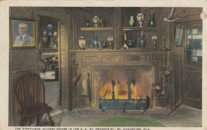 ST. AUGUSTINE, Florida, 1900-10s; Fireplace, Oldest House in the U.S.