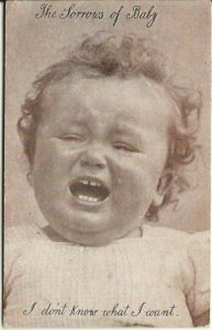 Antique Postcard Early 1900's The Sorrows of Baby Sepia or Sienna Tones Curly