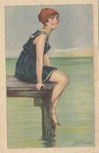 ART DECO ; Female wearing blue sailor bathing suit & cap, on the pier, 1910-20s