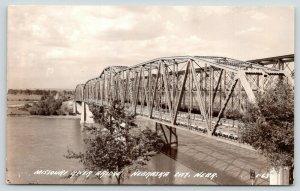 Nebraska City Nebraska~Missouri River Bridge~Keep Right Sign~1940s RPPC