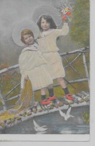 View of two little girls on bridge birds river flowers antique pc Z19256