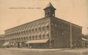Bryan Ohio~Chrisman Hotel~Shops~Chairs on Sidewalk~House Behind~1908 ZIM PC