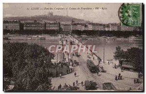 Postcard Old Bridge Lyon Cordeliers and hillside Fourvières
