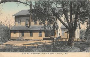 F23/ New London Ohio Postcard c1910 Clarksfield Old Mill Buggy