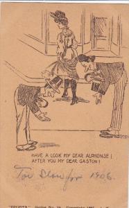 Have a look my dear Alphonse! after you my dear Gaston!, Men admiring woman'...