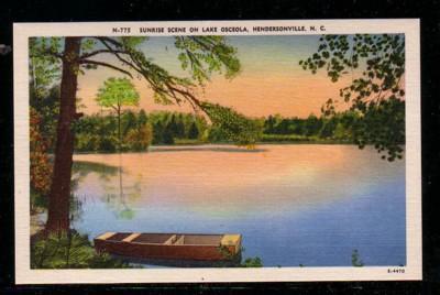 North Carolina colour PC Sunrise Lake Osceola Hendersonville unused
