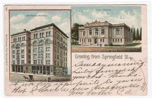 Greetings Springfield Illinois Odd Fellows Lincoln 1908 postcard