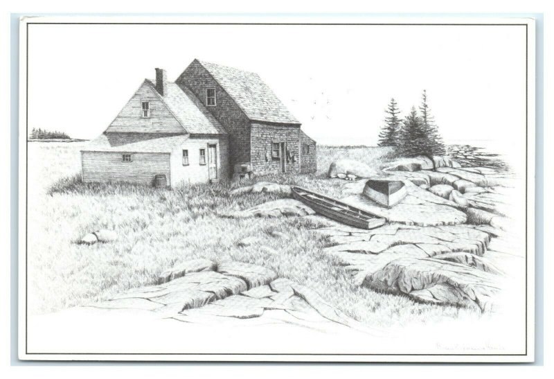 Postcard Artist Signed Drawing by Consuelo Eames Hanks home water edge ME K11