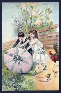 Happy Easter Children Rolling Huge Egg unused c1905