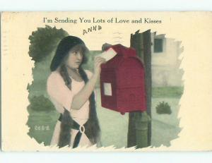 Pre-Linen PRETTY GIRL WITH LONG PIGTAILS MAILS LETTER AT USPS MAILBOX J3594