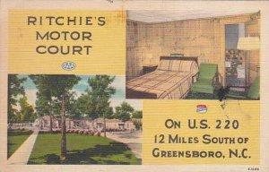 North Carolina Greensboro Ritchies Motor Court 1953 Albertype