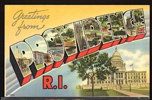 USA Postcard Large Letter Greetings From Providence Rhode Island