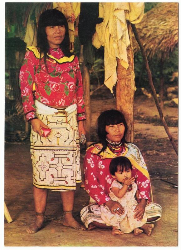 Peru Shipibo Indian Woman and Children in Pucallpa 1970s Postcard #1